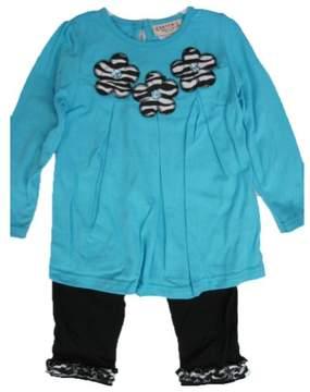 Carter's Baby Girls Blue Flower Applique Ruffle 2 Pc Leggings Set 24M