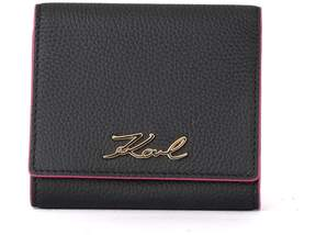 Karl Lagerfeld Karry All Black And Fuchsia Leather Wallet