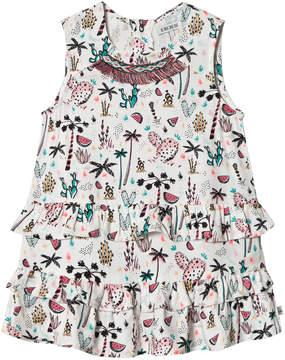 Ikks White Cactus Frill Print Sleeveless Dress