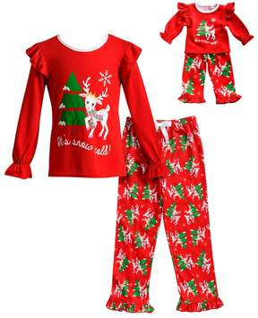 Dollie & Me Girls 4-14 It's Snow Cold Reindeer Ruffled Top & Tree Bottoms Pajama Set