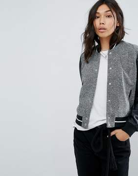 Abercrombie & Fitch Contrast Sleeve Varsity Bomber