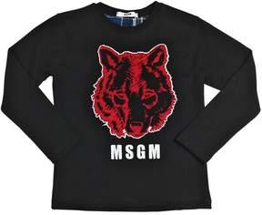 MSGM Wolf Printed Cotton Jersey T-Shirt