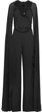 Elie Saab Embellished Crepe And Chiffon Jumpsuit - Black