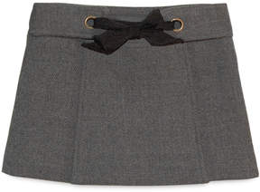 Milly MINIS DOUBLEFACE WOOL TIE FRONT SKIRT