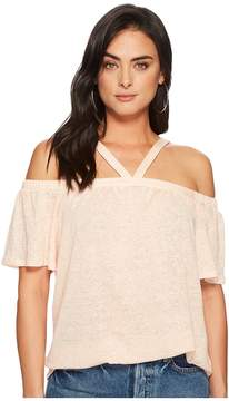 1 STATE 1.STATE Short Sleeve High Neck Cold Shoulder Knit Top Women's Clothing