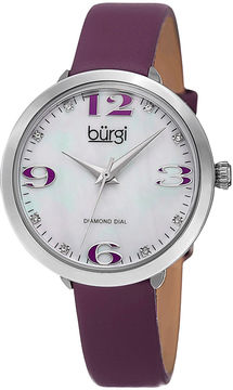 Burgi Womens Diamond Accent Mother-of-Pearl Purple Strap Watch