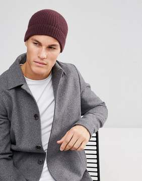 Asos Cashmere Fisherman Beanie In Burgundy