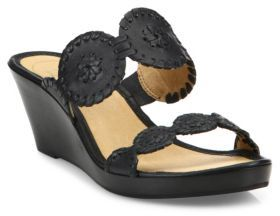 Jack Rogers Shelby Whipstitch Leather Wedge Sandals