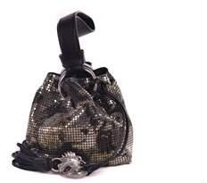 Roberto Cavalli Black Metallic Camouflage Effect Metal Mesh Bag