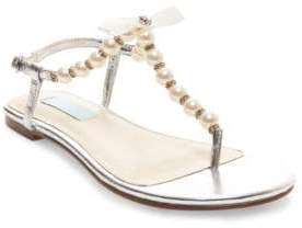 Betsey Johnson Pearl T-Strap Sandals