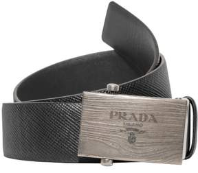 Prada Box Frame Engraved Buckle Saffiano Reversible Leather Belt (Black/Gray, EU:110 US:44)