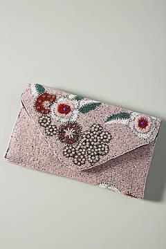 Anthropologie Rose Rocker Beaded Envelope Clutch