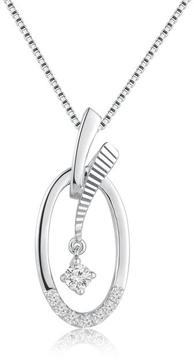 Ice Diamond Accented 18K White Gold Oval Shaped with Dangle Pendant Necklace