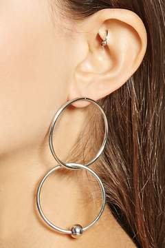 Forever 21 Beaded Hoop Drop Earrings