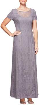 Alex Evenings A-Line Glitter Lining Gown