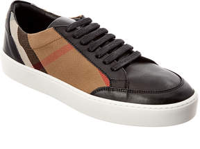 Burberry Check Detail Leather Sneaker