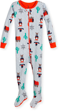 Petit Lem Western-Print Footed Coverall, Heather Gray/Multi, Size 2-4