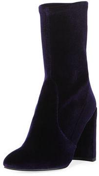 Stuart Weitzman Clinger Stretch-Velvet Mid-Calf Boot