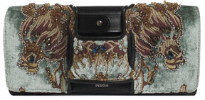 Perrin Paris La Capitale Embellished Velvet Clutch Bag