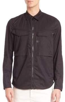 G Star Solid Zipped Button-Down Shirt