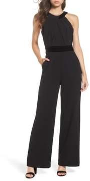 Eliza J Women's Crepe & Velvet Halter Jumpsuit