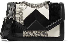 Karl Lagerfeld - K/klassic Elaphe, Suede And Leather Shoulder Bag - Black
