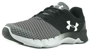Under Armour Bps Flow Rn Tck Youth Round Toe Leather Black Sneakers.