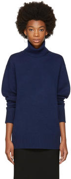 Chloé Blue Cashmere Classic Long Turtleneck