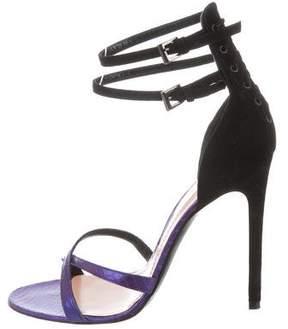 Barbara Bui Snakeskin-Trimmed Corset Sandals