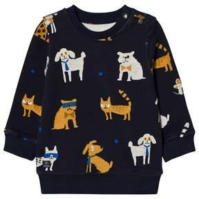 Catimini Navy Cat and Dog Print Sweatshirt