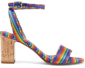 Tabitha Simmons Leticia Striped Twill Sandals - Blue