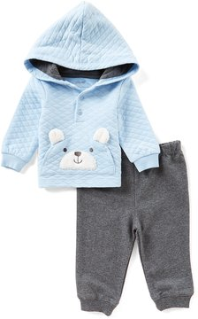 Little Me Baby Boys 3-12 Months Teddy Bear-Face-Applique Hooded Sweatshirt & Pant Set