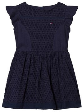 Tommy Hilfiger Navy Frill Sleeve Dress