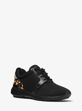 Michael Kors Amanda Leopard Calf Hair And Mesh Sneaker