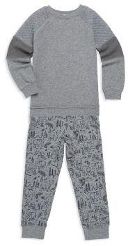 Splendid Toddler's Two-Piece Heathered Top & Printed Pants Set
