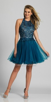 Dave and Johnny Tulle Halter Embellished Low Cut Back Homecoming Dress
