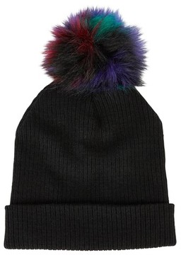Sole Society Women's Faux Fur Pompom Beanie - Black