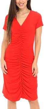 Bellino Red Ruched V-Neck Dress - Women