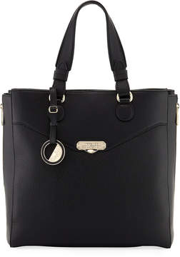 Versace Pebbled Leather Tote Bag, Black
