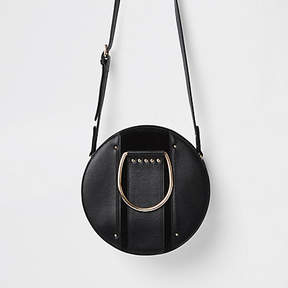 River Island Black leather circle cross body bag