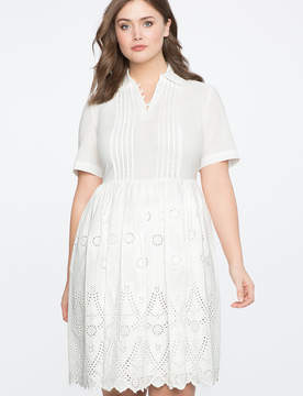 ELOQUII Eyelet Fit and Flare Dress