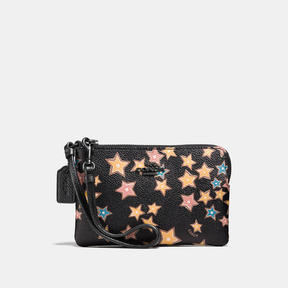 COACH Coach Small Wristlet With Starlight Print - MATTE BLACK/BLACK MULTI - STYLE