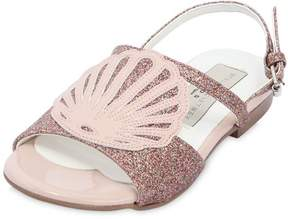 Stella McCartney Seashell Glittered Faux Leather Sandals