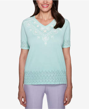 Alfred Dunner Roman Holiday Beaded Pointelle Sweater