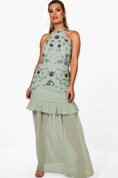 boohoo Plus Boutique Halterneck Ruffle Maxi Dress