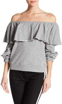 Romeo & Juliet Couture Off-the-Shoulder Ruffle Knit Sweater