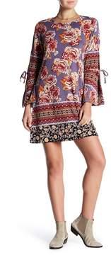 Angie Print Slit Sleeve Mini Shift Dress