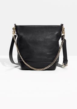 Gold Chain Crossbody Bucket Bag