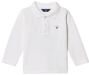 Gant White Shield Long Sleeve Pique Polo