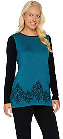 Bob Mackie Bob Mackie's Rib Sleeve Embroidered HemSweater